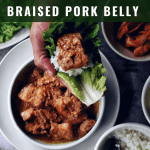 braised pork belly in lettuce wrap