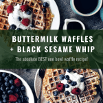 two plates of buttermilk waffles with black sesame whipped cream