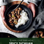 spicy sichuan chicken stir fry in bowl with rice