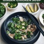 bowl of ginger chicken soup in black bowl