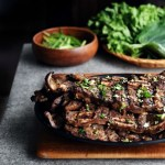 side view of LA Galbi on cutting board