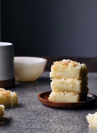 stacked pieces of coconut mochi cake
