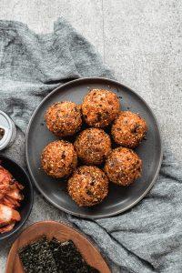 korean rice balls (jumeok bap) rolled in furikake