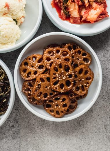 braised lotus root in small dish