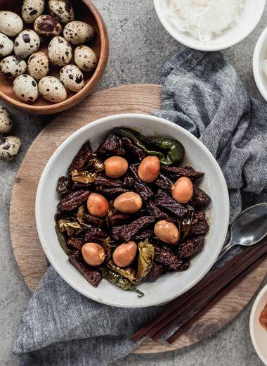 Korean Jangjorim (soy braised beef) with quail eggs