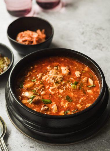 clay pot filled with seafood soondubu jjigae
