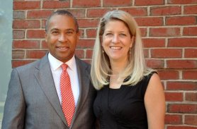 2011 - Governor Patrick meets with Steppingstone President Kelly Glew during his visit to Steppingstone