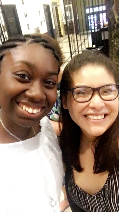 """Scholar speaker Kaylah with CSA Advisor Mariela DeLeon. During the event, Ms. DeLeon (a Steppingstone Alumna) reflected on how she has """"seen you all mature into the intelligent, strong, and passionate individuals that you are."""""""