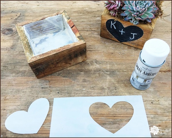 Valentine's Day DIY prepping heart stencil