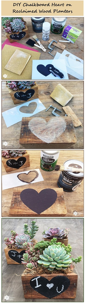 Valentine's Day DIY how to make chalkboard heart on reclaimed wood with blackboard paint
