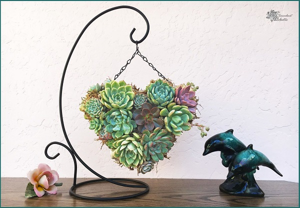 Mothers Day DIY succulent topiary heart hanging on display stand