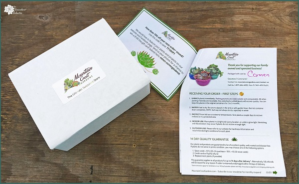 unboxing Mountain Crest Gardens - colorful care instructions