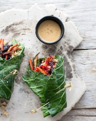 collard wraps w/roasted veggies, quinoa, brown rice + mustard miso via what's cooking good looking