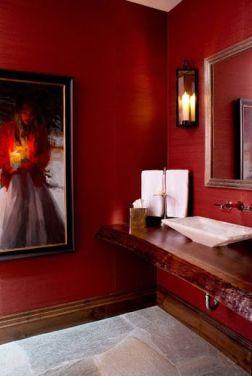 red bathroom interior