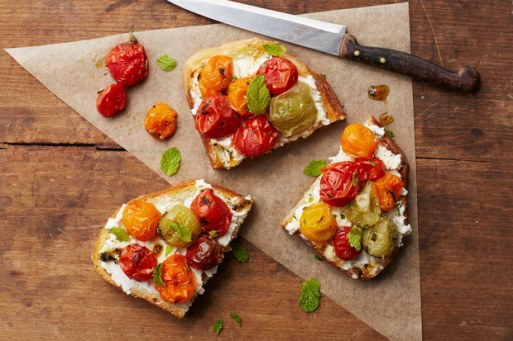maple roasted tomato toast with goat cheese and mint via epicurious