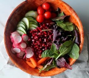 salad w/radishes, pomegranates, and cherry tomatoes