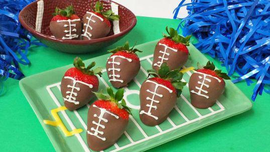 chocolate covered strawberry footballs via tbsp