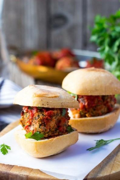 vegetarian meatball sliders with white beans, kale and feta via she likes food