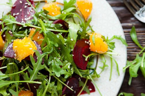arugula salad with honey-lime sesame dressing via delicious living & the crucian contessa