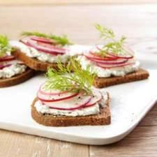 radish* tea sandwiches w/creamy dill via eating well