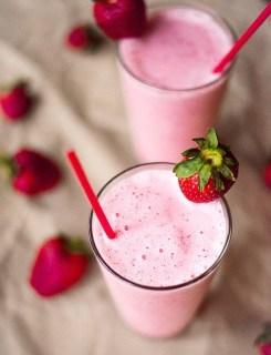 strawberry protein shake via a sweet pea chef