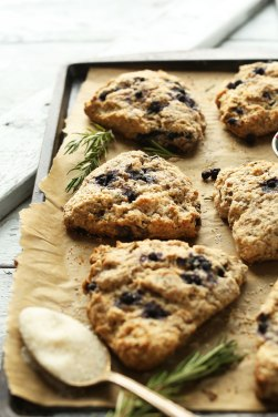 coconut oil blueberry scones with rosemary via minimalist baker