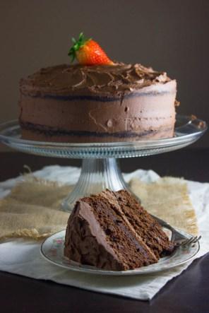 dark chocolate cake via brown sugar