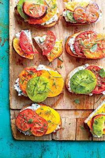 open faced tomato sandwiches w/creamy cucumber spread via southern living