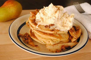 buttermilk pancakes with carmelized pears and pecans via my life runs on food