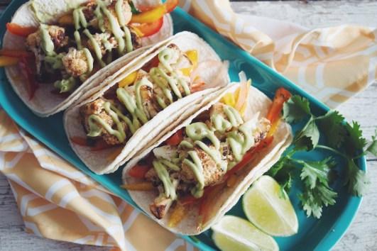 grilled cauliflower tacos w/mango slaw avocado crema via hot for food