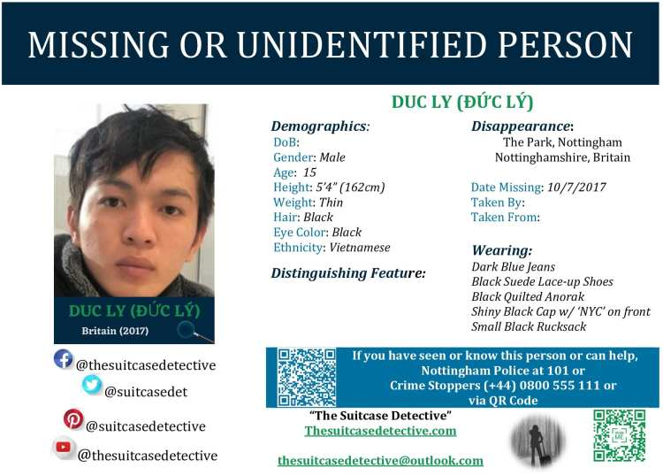 Missing Person poster for DUC LY