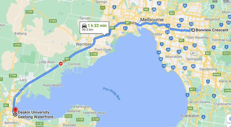 Map of trip from Bonview Crescent to Deakin University