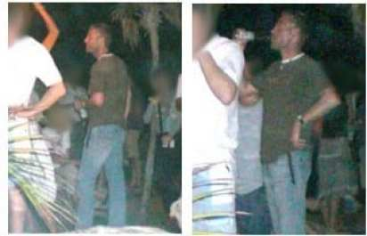 Two images of a male, caucasian, drinking from a bottle. Wearing jeans and a green t-shirt with a white color.