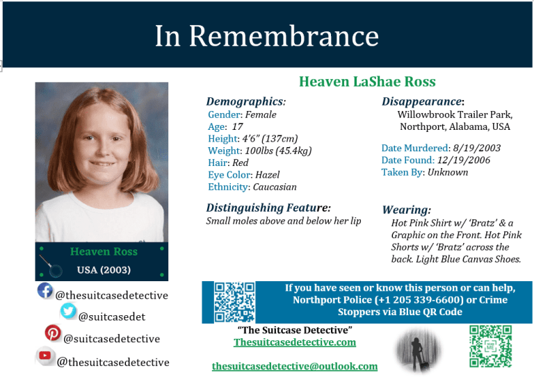 Missing Person poster for Heaven Ross