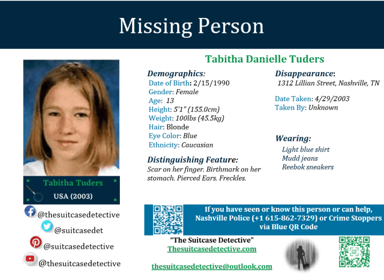 Missing Person poster for Tabitha Tuders