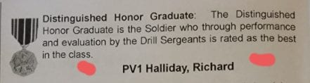 Award for Distinguished Honor Graduate listed for Richard Halliday