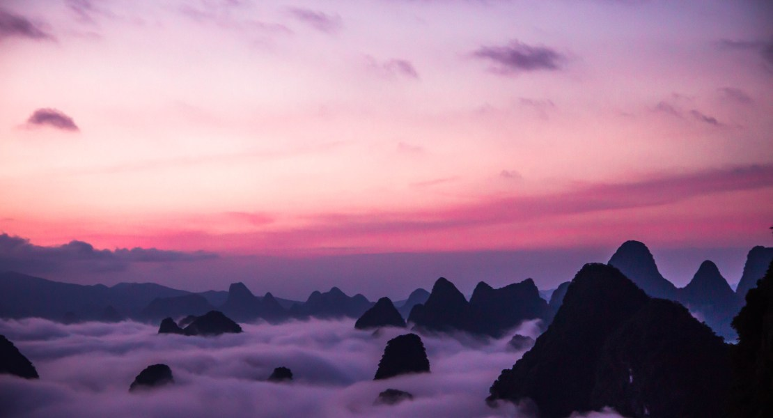 sunrise in Yangshuo, China