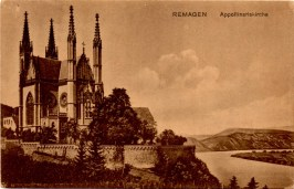 G1 WW1 CARD 5A 03-28-1919 FROM REMAGEN GERMANY THE APPOLLINARIS CHURCH