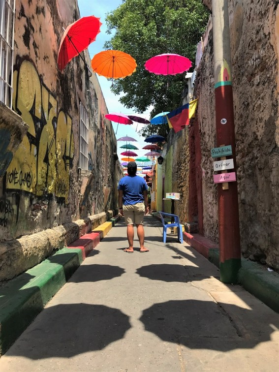 Umbrella-alley-Cartagena-Budget-Breakdown-The-Cost-of-Backpacking-Colombia