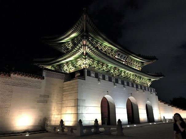 Gyeongbok-gung-Palace-at-night-Budget-Breakdown-Backpacking-South-Korea-on-the-Cheap