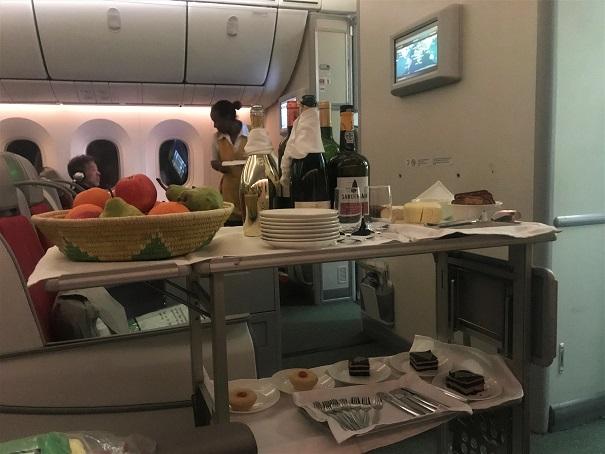 Dessert cart in business class Ethiopian Airlines