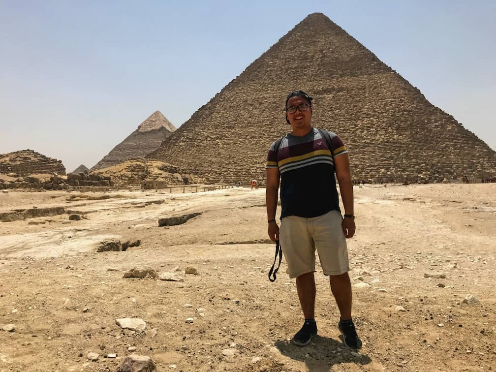 Adi in front of Great Pyramids of Giza