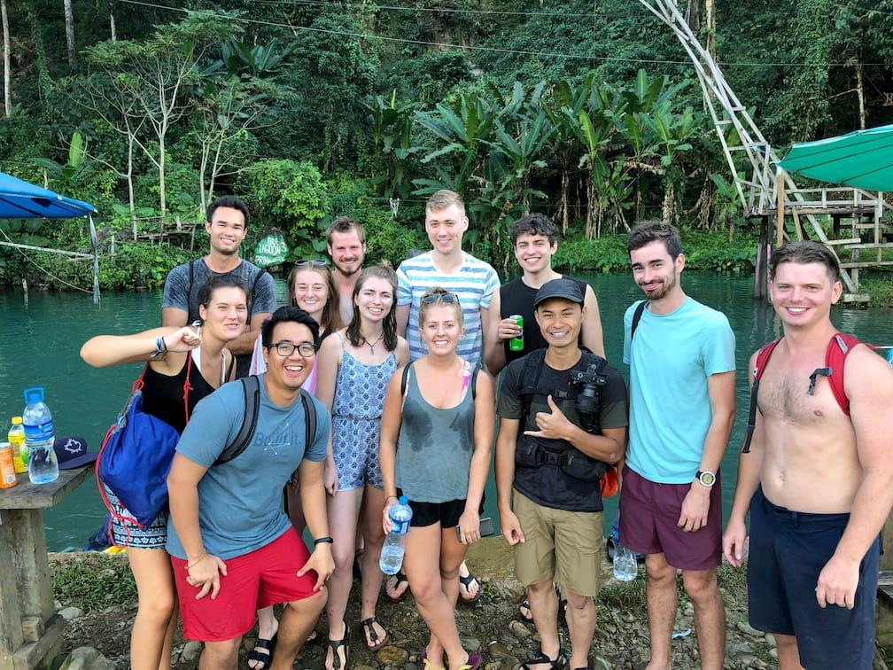 group of friends at vang vieng laos