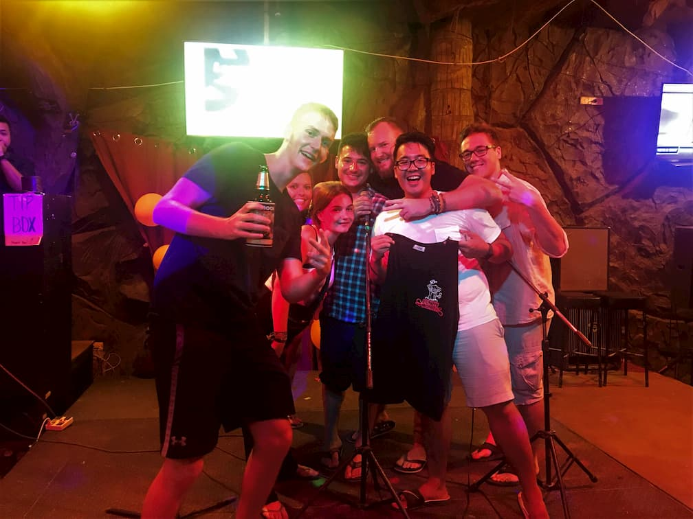 group of friends karaoke in Thailand