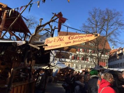 A signboard announcing Gluhwein