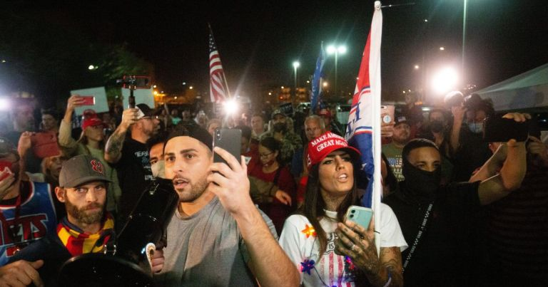 """Trump supporters surround a counting center in Arizona shouting """"count the votes!"""""""