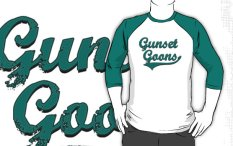 "Image: ""Gunset Goons"" - Evergreen on White/Evergreen Baseball 3/4 Sleeve T-Shirt"