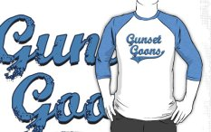 "Image: ""Gunset Goons"" - Light Blue on White/Light Blue Baseball 3/4 Sleeve T-Shirt"
