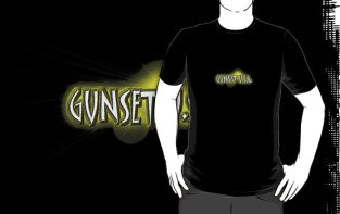 "Image: ""Gunset U.S.A."" - Yellow Sunburst on Black T-Shirt"
