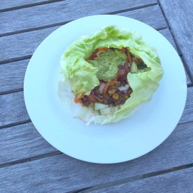 Mexican Chili Mince Lettuce Cups with Avocado Salsa.